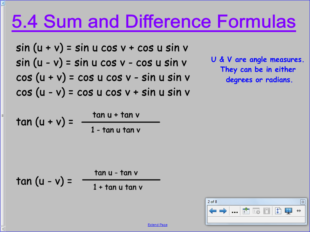 Printables Of Section 5 4 Sum And Difference Identities