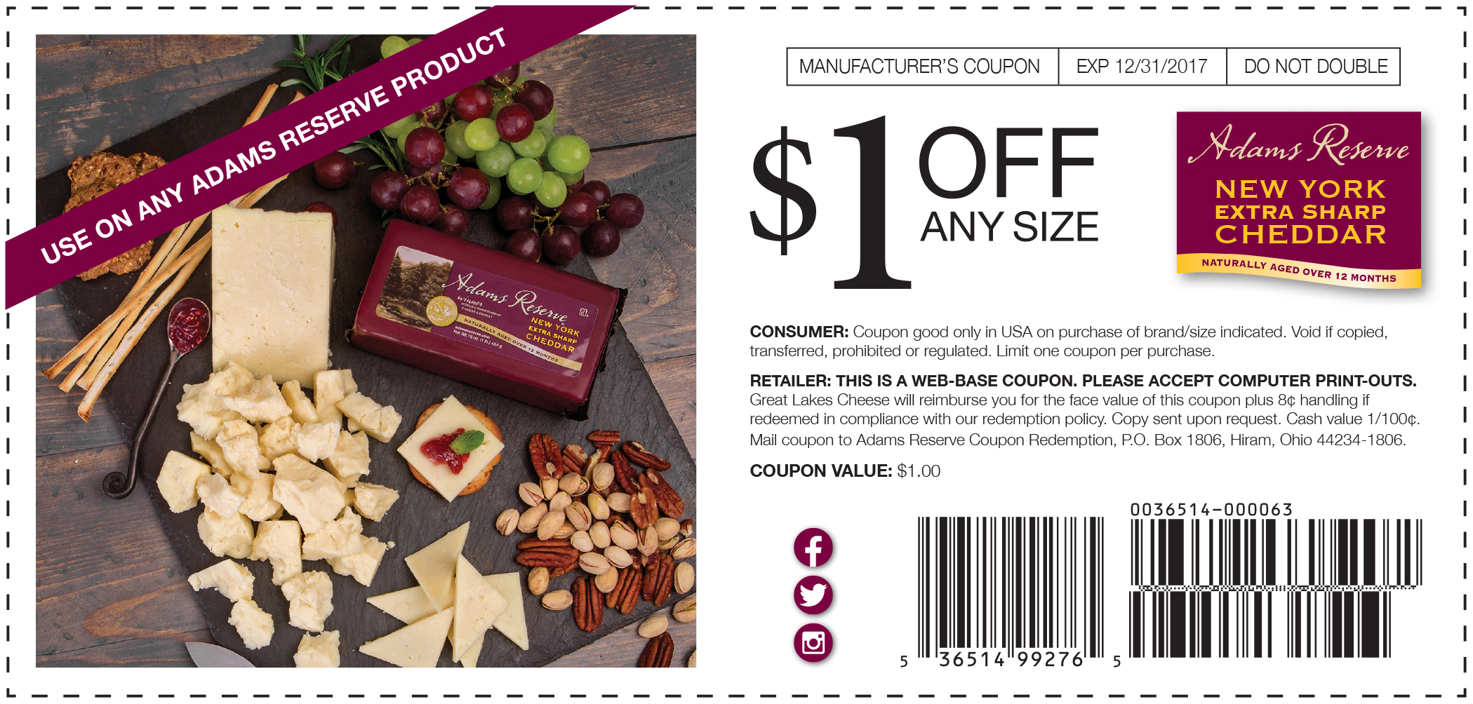 Adams Reserve Cheddar web coupon 2017