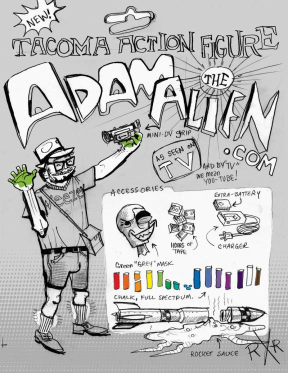 """""""Tacoma Action Figure: Adam the Alien"""" by R.R. Anderson"""
