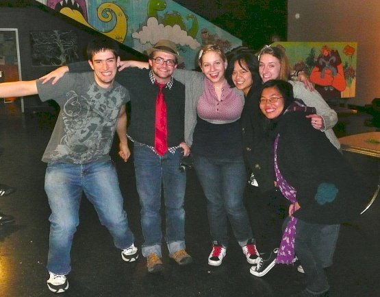 Adam and friends posing with Julia Nunes at her January 2010 concert in Seattle.