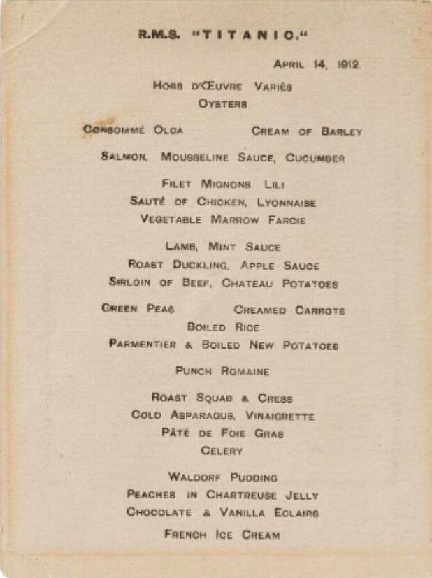 jedalensky salon 1. triedy titanic menu vecera uvitacia sien