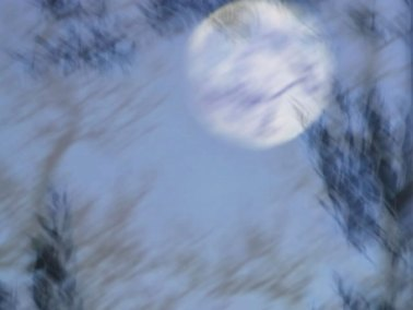 A still from a video in which the audience sees the world from the CREATURE's point of view, immediately after 'birth,' when his sensory experience of the world is still fragmentary and incoherent. In a voiceover, the CREATURE tells what he recalls of this moment and the time immediately thereafter, using language adapted from Shelley's Frankenstein.