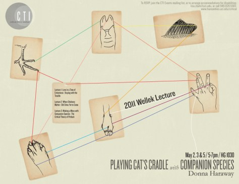 Poster for Haraway's Wellek Lectures in 2011, illustrating multispecies string figures, speculative fabulation, and cat's cradle.