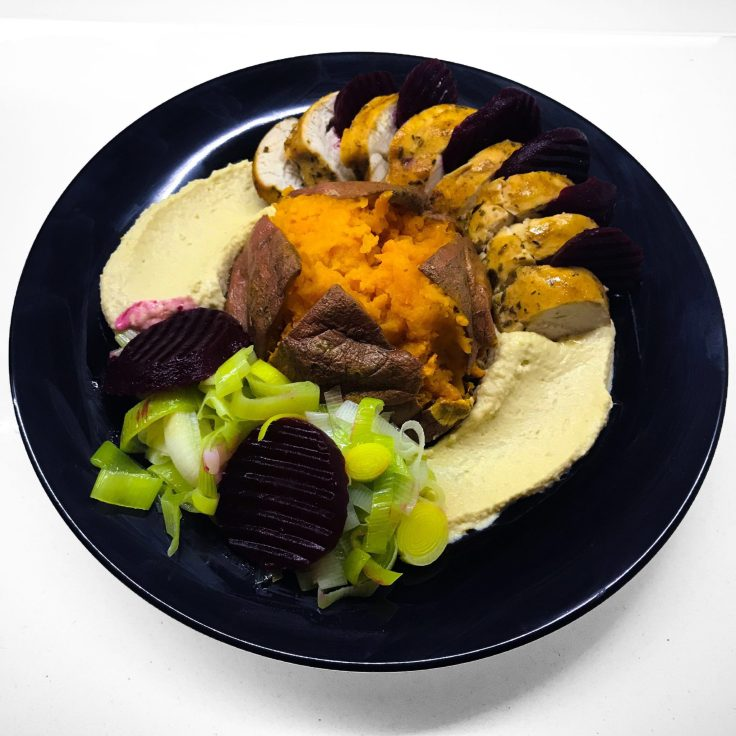 Roast Chicken, Sweet Potato Jacket, Hummus, Pickled Beetroot and Leeks