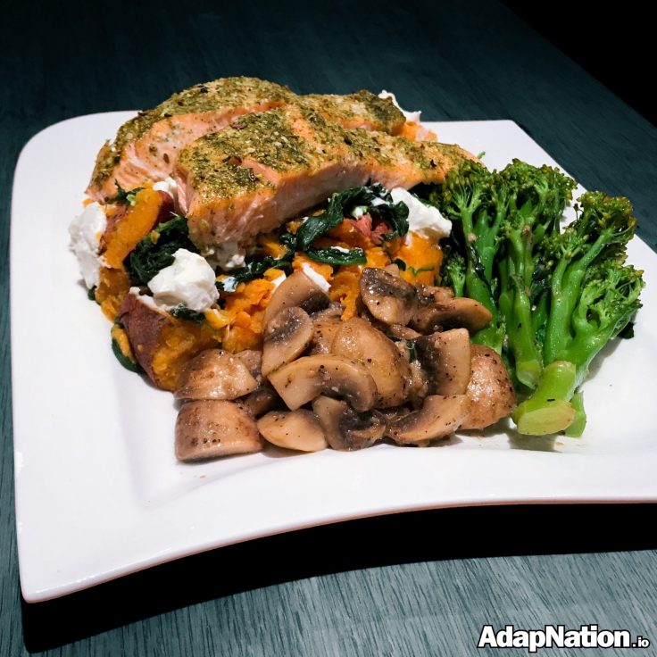 Salmon with Sweet Potato Sag Aloo & veggies