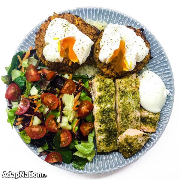 Salmon, Sweet Potato Rostis and Eggs