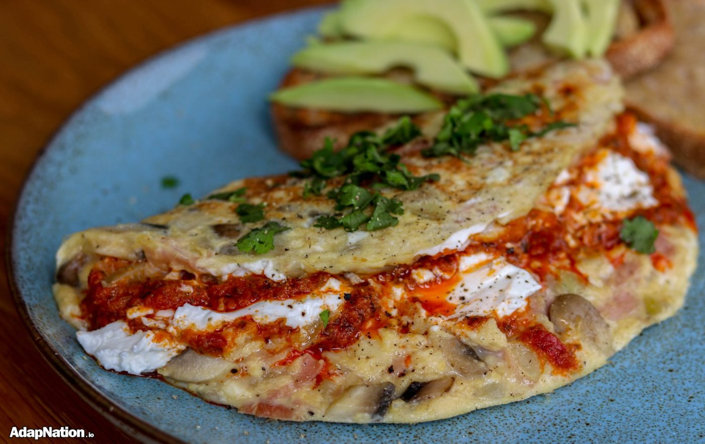Goats Cheese & Red Pesto Omelette with Avocado Toast