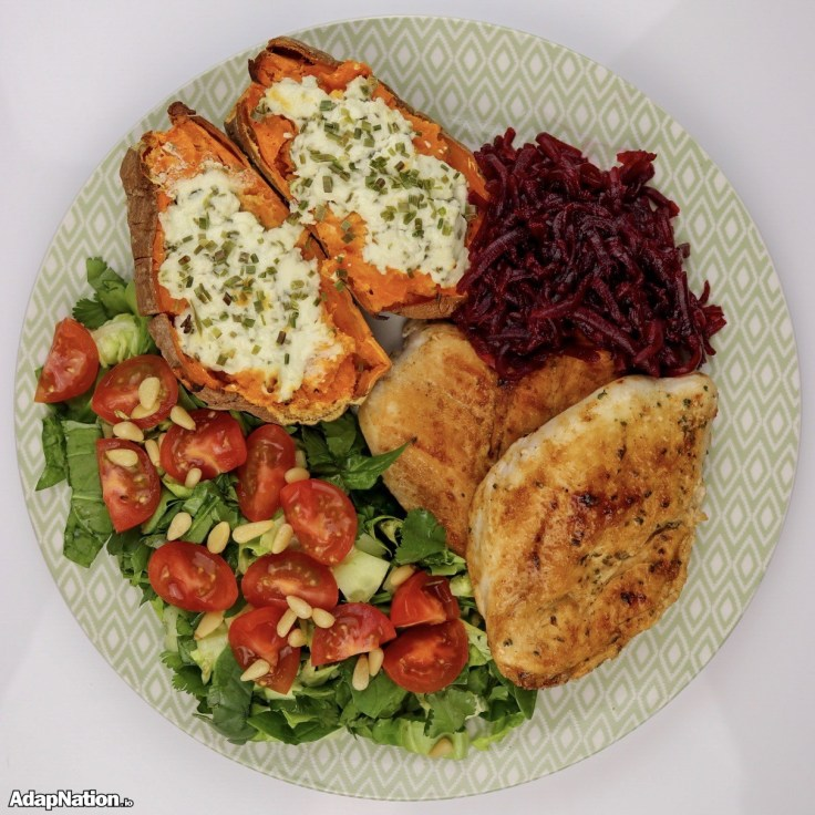 Pan Fried Chicken, Loaded Sweet Potato Jacket, Salad & Smoky Beetroot