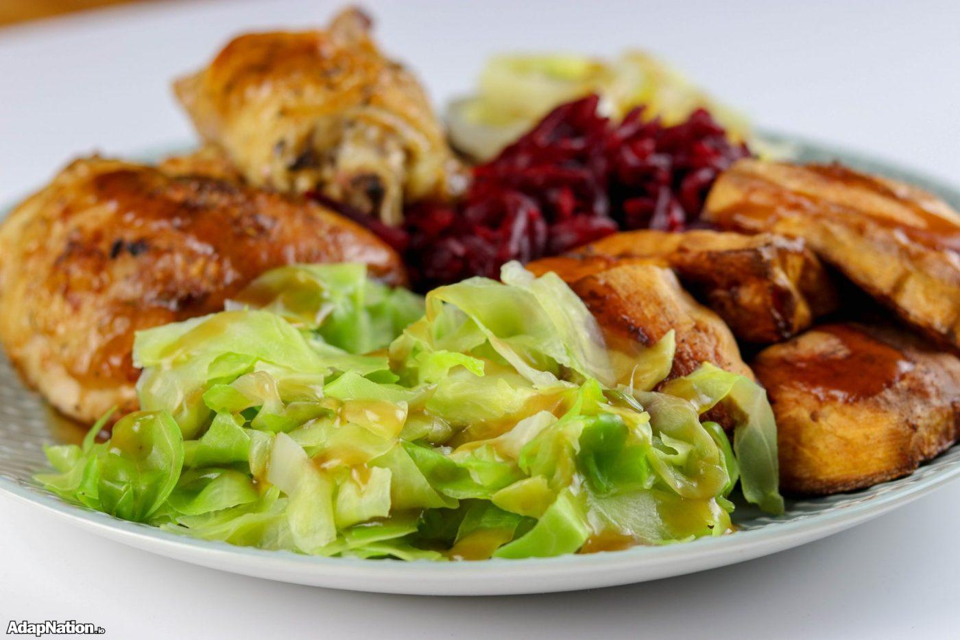 Chicken Thighs & Sweet Potato Roast With Gut Booting Veg