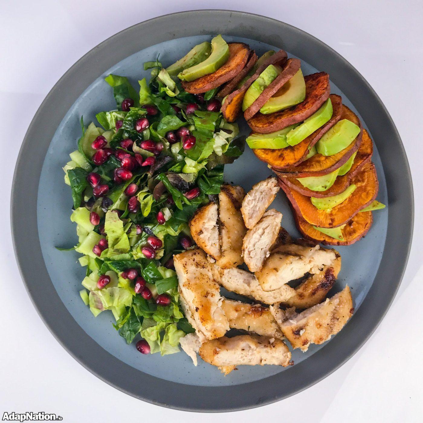 Chicken & Pomegranate Salad, with Sweet Potato & Avocado