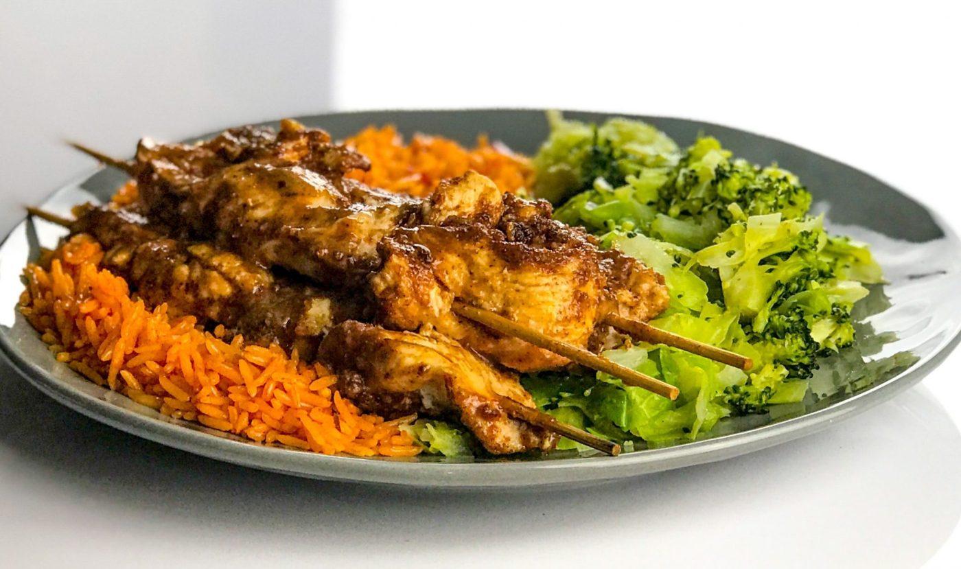 Almond Chicken Satay, Chilli Rice and Veg Medley