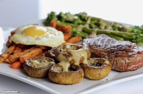 Fillet Steak, Fried Egg, Sweet Potato Fries & Veg