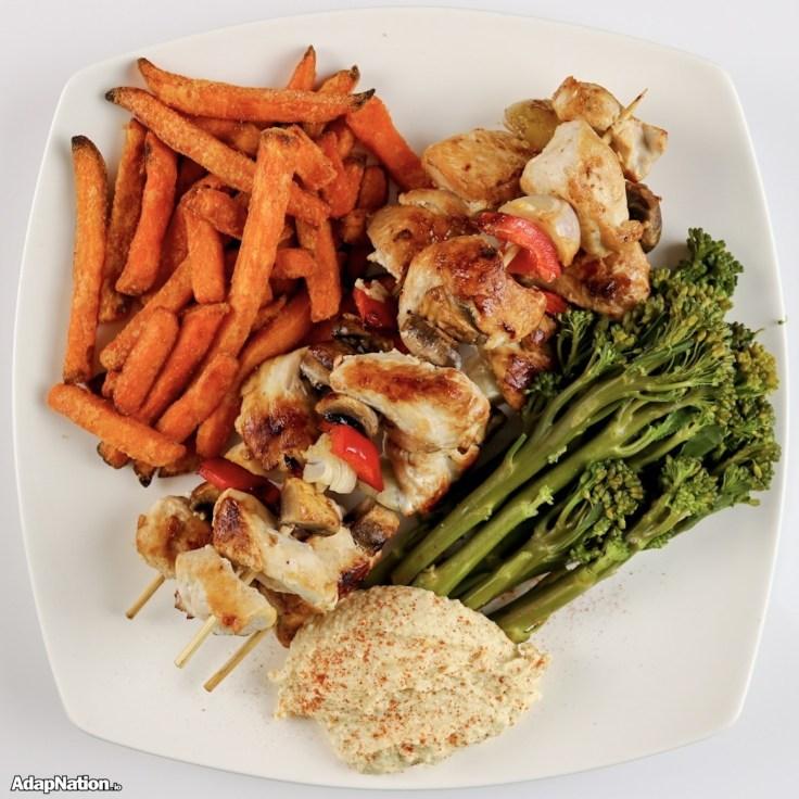 Chicken Kebabs, Sweet Potato Fries & Tender Stem Broccoli