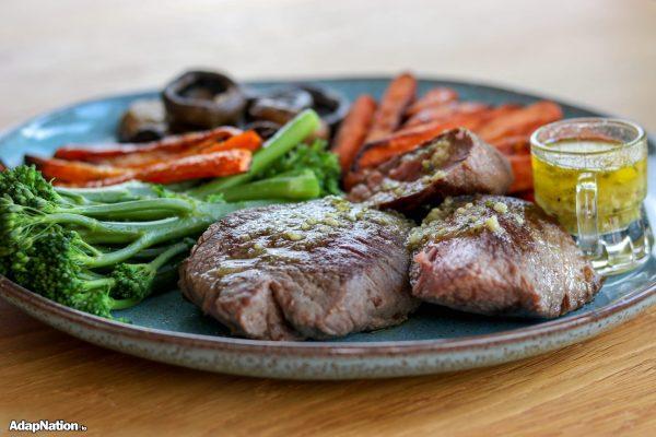 Ostrich Steak, SP Fries, Mushrooms and Superveg