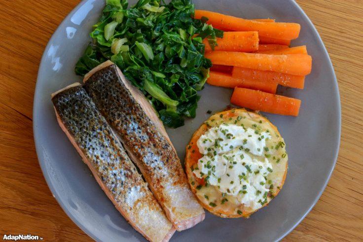 Sweet Potato Dauphinoise, Pan-Fried Salmon & Veg p4