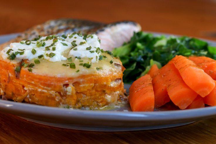 Sweet Potato Dauphinoise, Pan-Fried Salmon & Veg p2