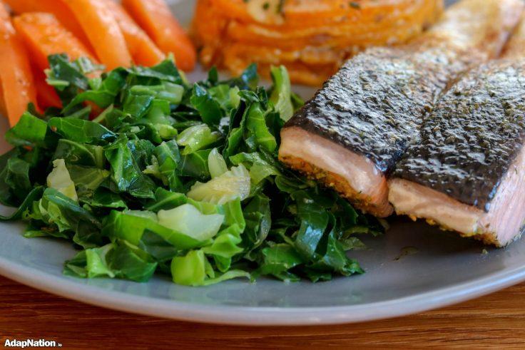 Sweet Potato Dauphinoise, Pan-Fried Salmon & Veg p3