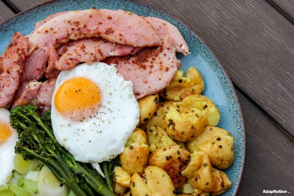 Honey Gammon & Eggs with Buttery Crushed Potatoes