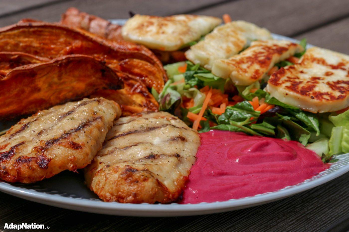 Chicken, SP Wedges, Halloumi & Beetroot Tarator feature