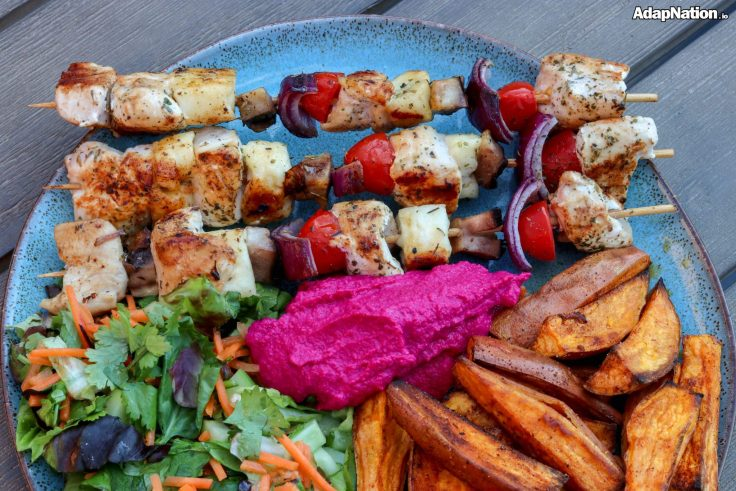 Chicken & Halloumi Skewers, with SP Wedges & Beetroot Hummus p4