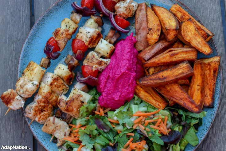 Chicken & Halloumi Skewers, with SP Wedges & Beetroot Hummus p2