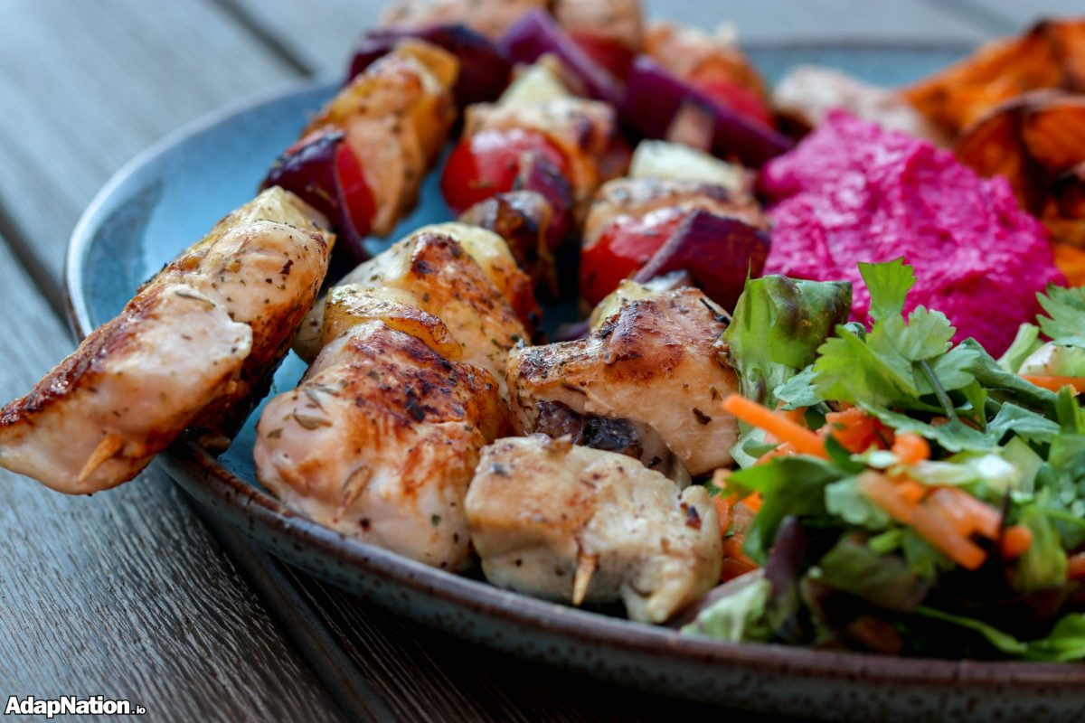 Chicken & Halloumi Skewers, with SP Wedges & Beetroot Hummus
