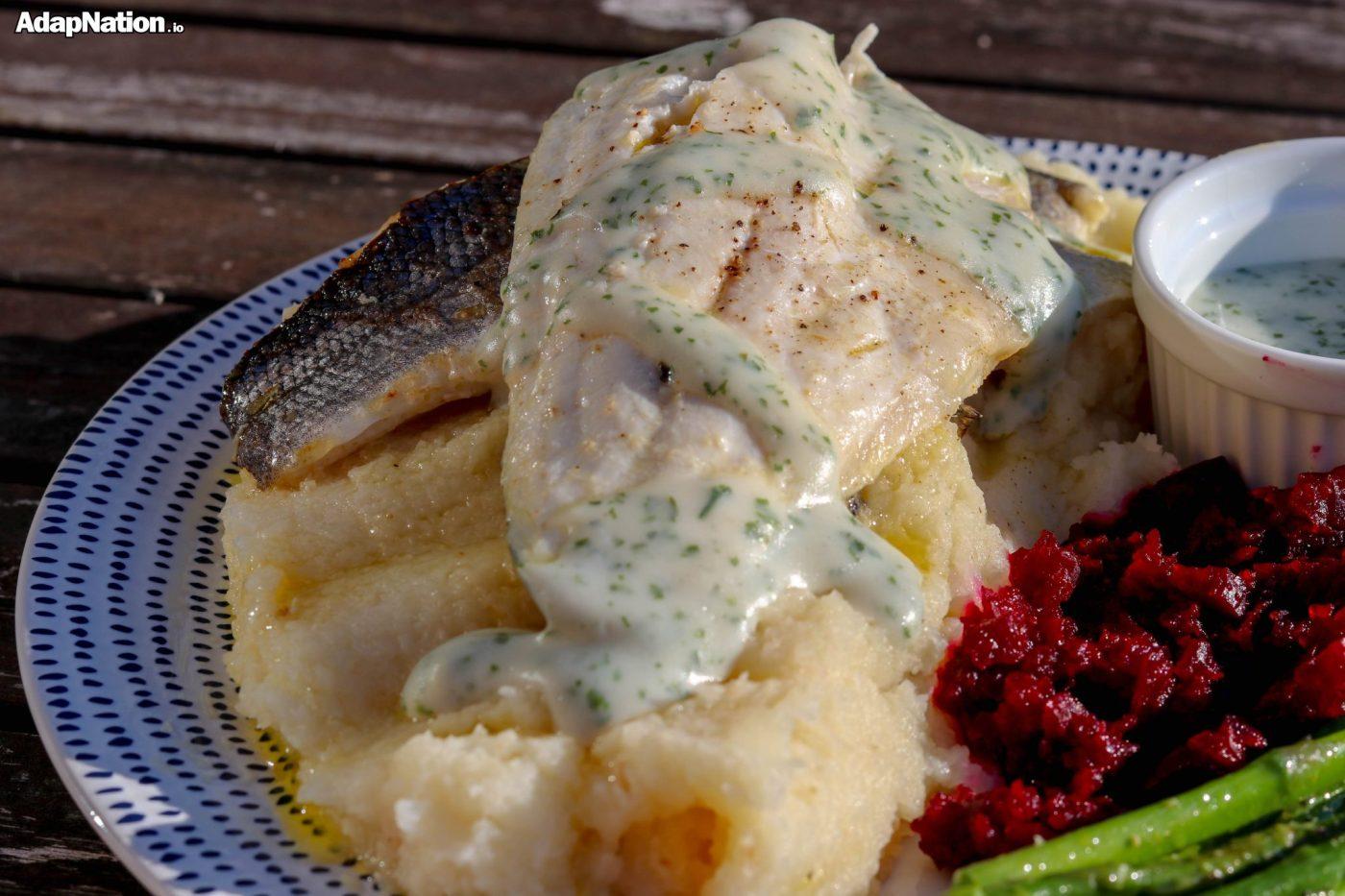 Sea Bass, Celeriac Mash, Asparagus & Beetroot Puree
