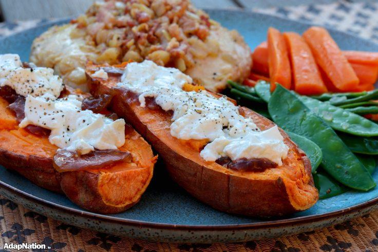 Pancetta Topped Chicken, Loaded Sweet Potatoes & Crunchy Veg