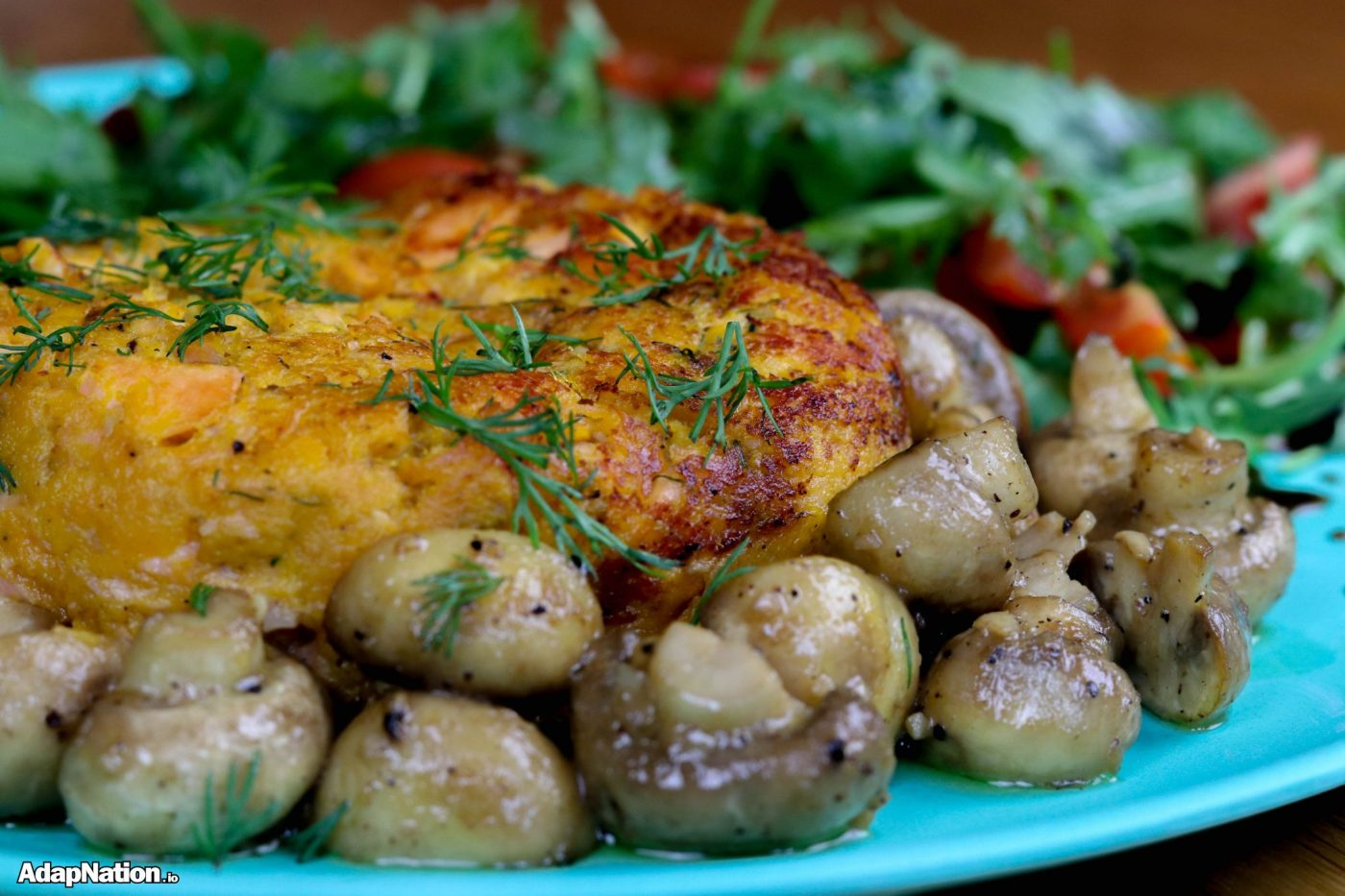 Juicy Sweet Potato Salmon Fishcake, Button Mushrooms & Rocket Salad