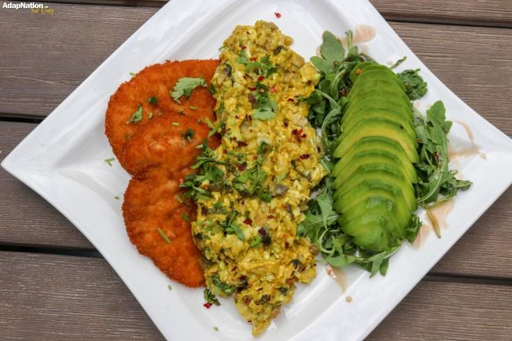 Eggs-A-La-Michelle, with Chicken Schnitzel, Avo and Rocket Salad p2