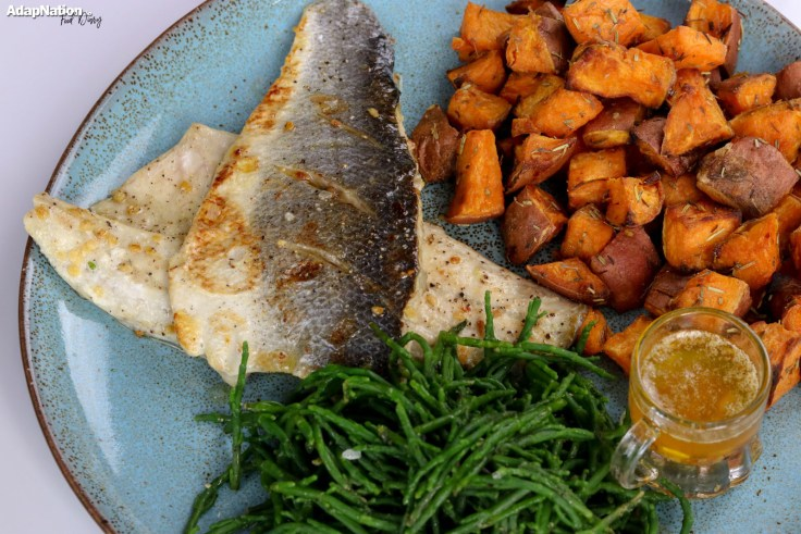 Pan Fried Sea Bass, Samphire & Sweet Potato Mini Roasties