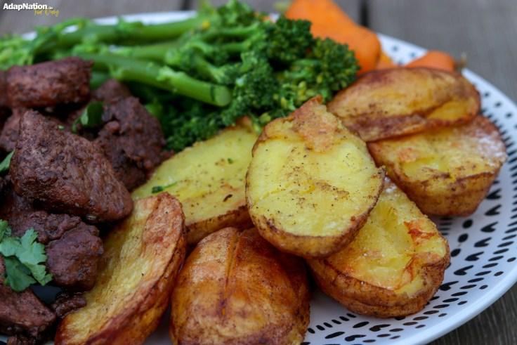 Pork Afelia with Roast Potatoes and Tender Veg p3