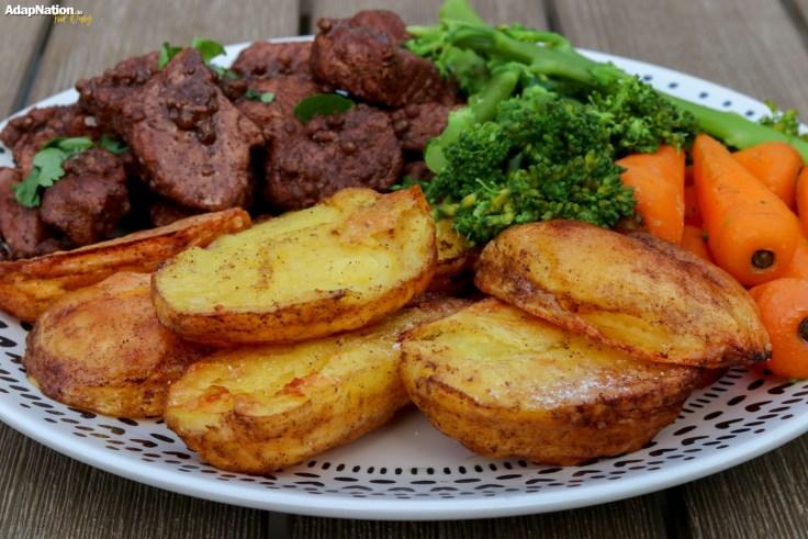 Pork Afelia with Roast Potatoes and Tender Veg p4