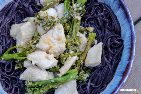Black Rice Noodles with Honey & Sesame Chicken