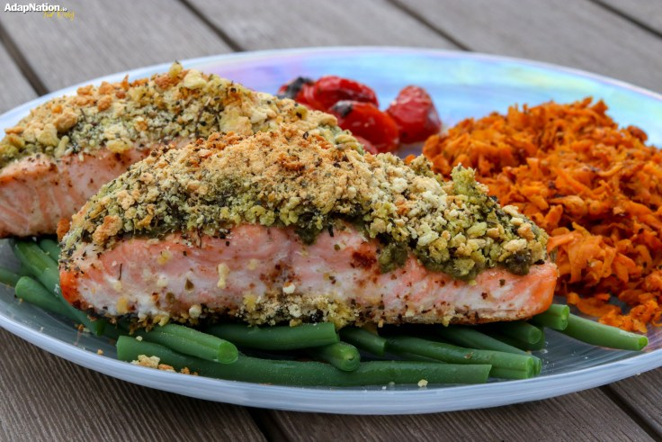 Herb Crusted Salmon with Shredded Sweet Potato & Balsamic Tomatoes p2