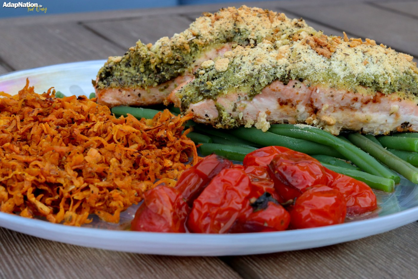 Herb Crusted Salmon with Shredded Sweet Potato & Balsamic Tomatoes