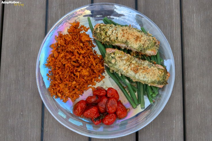 Herb Crusted Salmon with Shredded Sweet Potato & Balsamic Tomatoes p4
