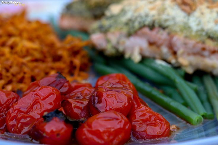 Herb Crusted Salmon with Shredded Sweet Potato & Balsamic Tomatoes p3