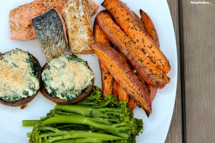Salmon, Spinach & Ricotta Topped Mushrooms & Chunky Wedges
