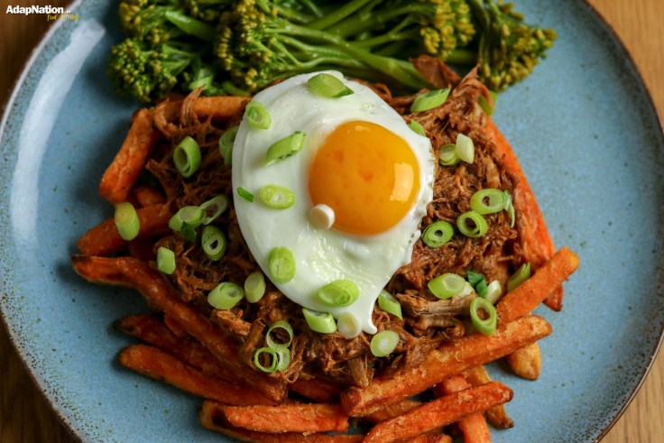 Barbecue Pulled Pork, Egg, Sweet Potato Fries and Broccolini p3