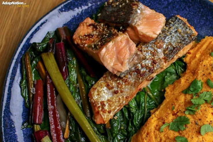 Asian Salmon with Rainbow Chard & Sweet Potato Mash