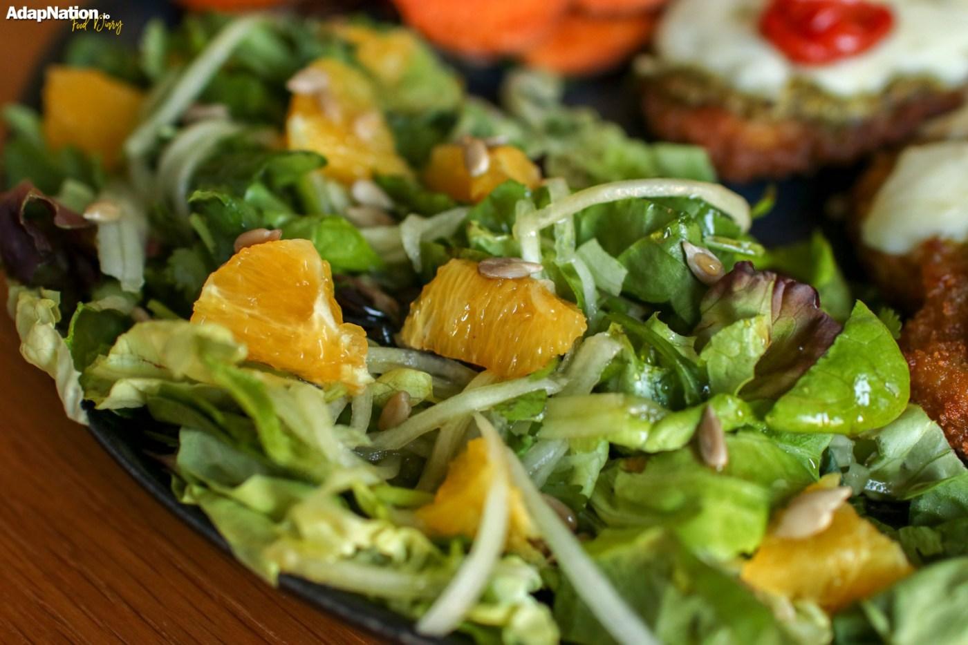 Mozzarella Chicken with Zesty Orange Salad & Sweet Potato Crisps