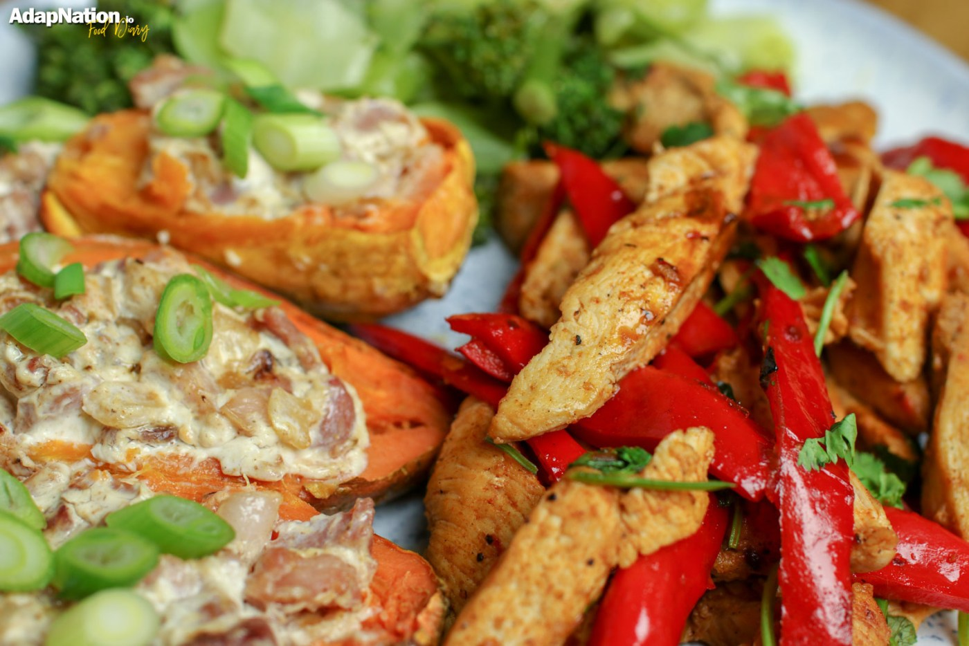 Tex Mex Chicken with Loaded Sweet Potato Skins