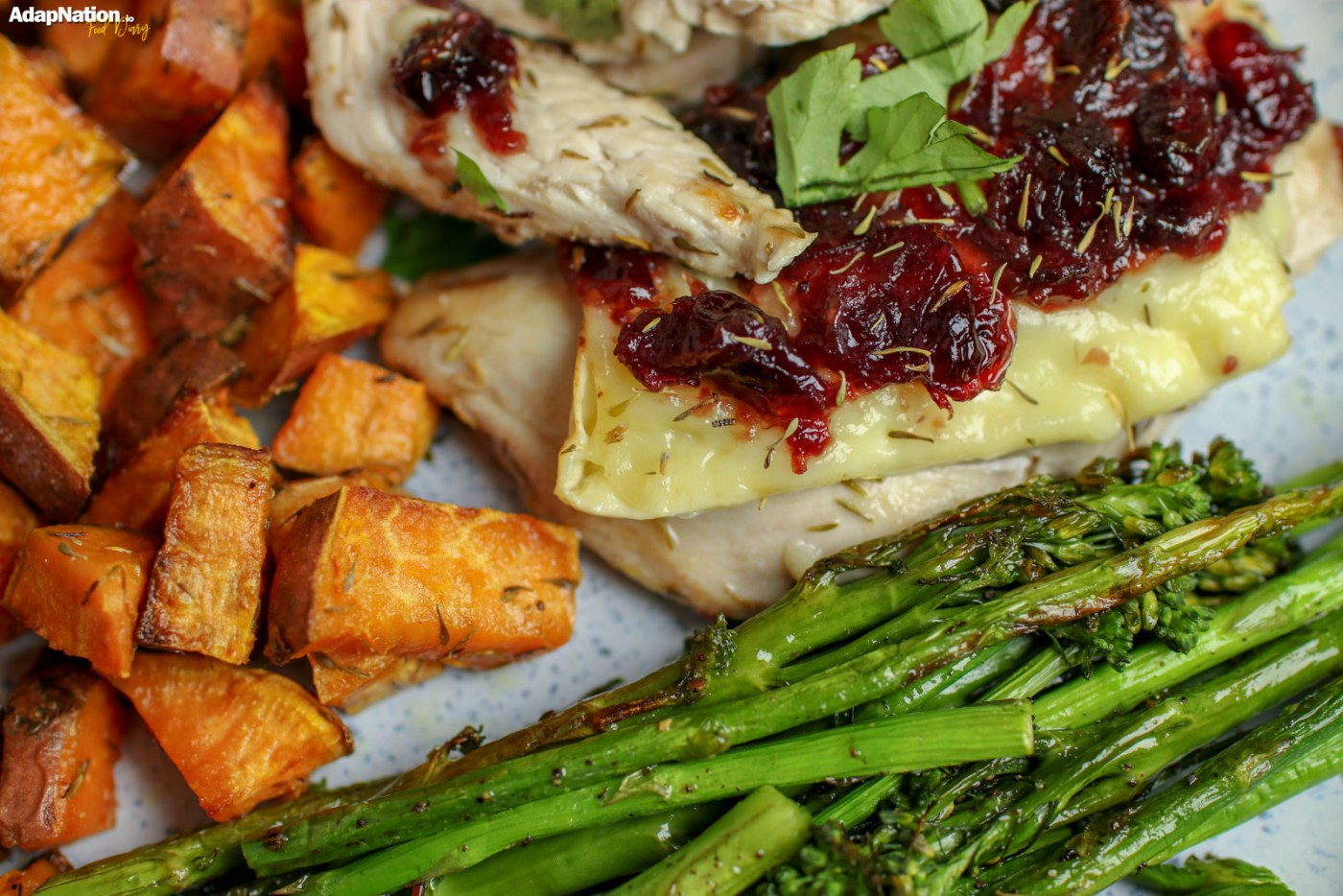 Brie & Cranberry Chicken with Sweet Potato Roasties & Toasted Green Veg