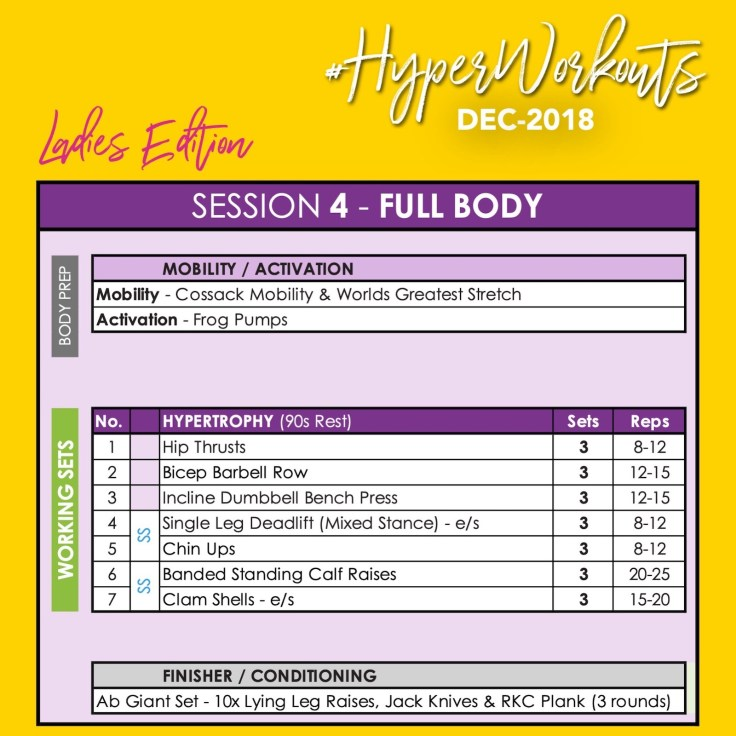 Ladies DEC-18 #HyperWorkouts Training Programme Day 4 Full Body