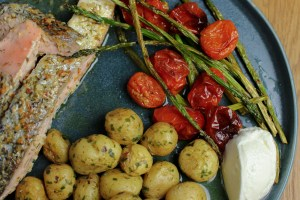Lemon & Dill Salmon, Buttery New Potatoes and Baked Asparagus & Tomatoes