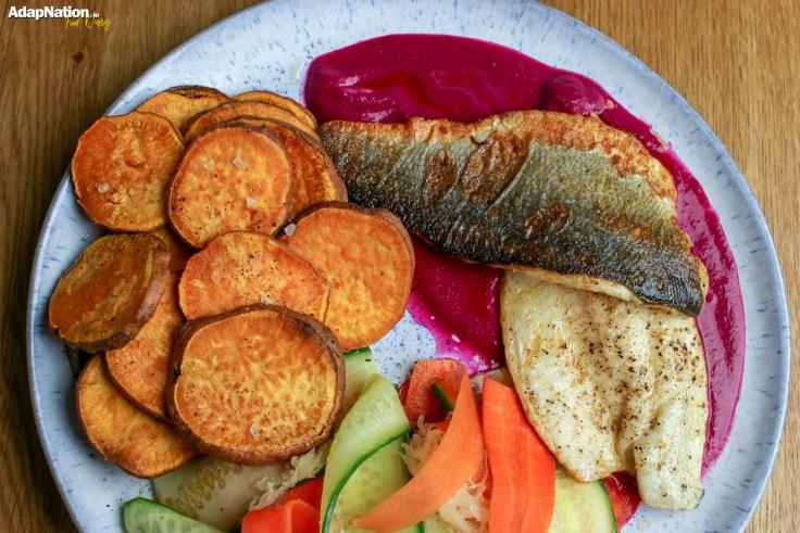 Pan Fried Sea Bass, Beetroot Purée, Sweet Potato Crisps & Pickled Veg p4
