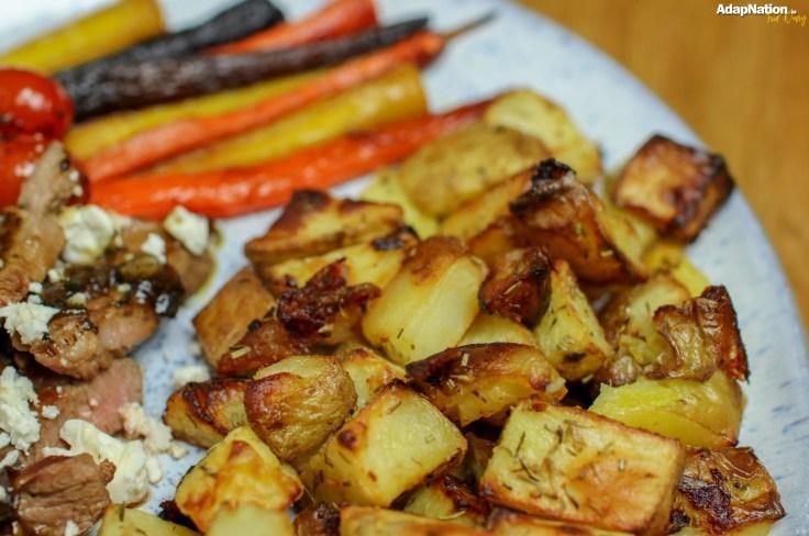 Minted Lamb, Feta & Tomatoes with Mini Roasties & Rainbow Carrots p4