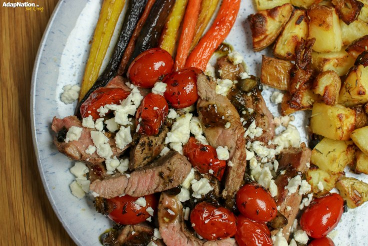 Minted Lamb, Feta & Tomatoes with Mini Roasties & Rainbow Carrots