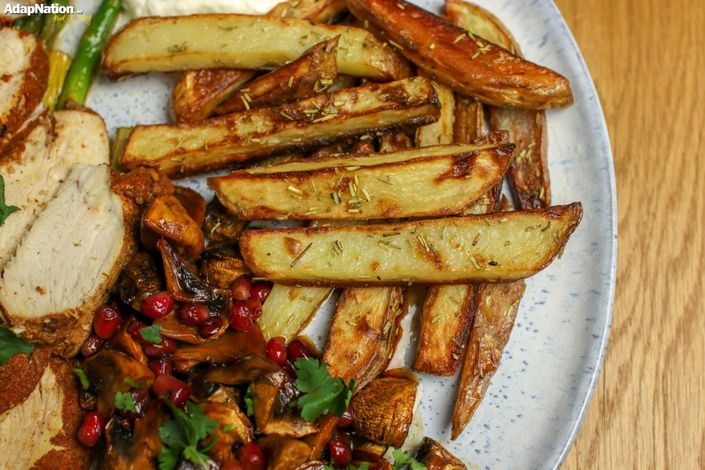 Moroccan Chicken, Baked Mushrooms & Chunky Chips